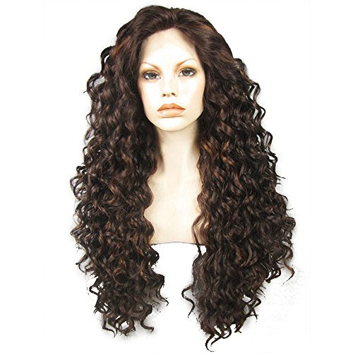 Ebingoo Dark Brown Lace Front Wig for Black Women Long Kinky Curly...