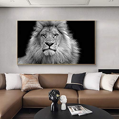 BGFDV Animal Arte Moderno Blanco y Negro Animal León Lienzo Pintura Cartel impresión Mural Imagen habitación decoración del hogar