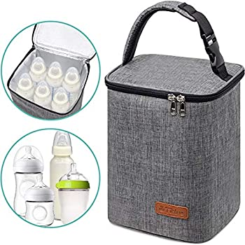 Breastmilk Cooler Bag Insulated Baby Bottle Bag Reusable Baby Bottle Tote Bag for up to 6 Bottles 4 Large 9 Oz Bottles Freezer Lunch Bag Perfect for Daycare Travel or Back to Work Nursing Mom