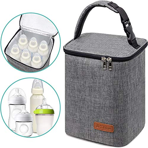 Breastmilk Cooler Bag Insulated Baby Bottle Bag, Reusable Baby Bottle Tote Bag for up to 6 Bottles 4 Large 9 Oz Bottles, Freezer Lunch Bag, Perfect for Daycare Travel or Back to Work Nursing Mom
