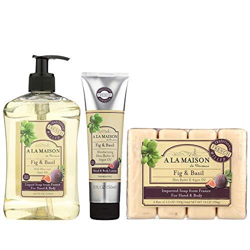 A La Maison Fig & Basil Set - Includes Hand Soap 16.9 Oz, Bar Soap 14 Ounce & Body Lotion 5 Ounce