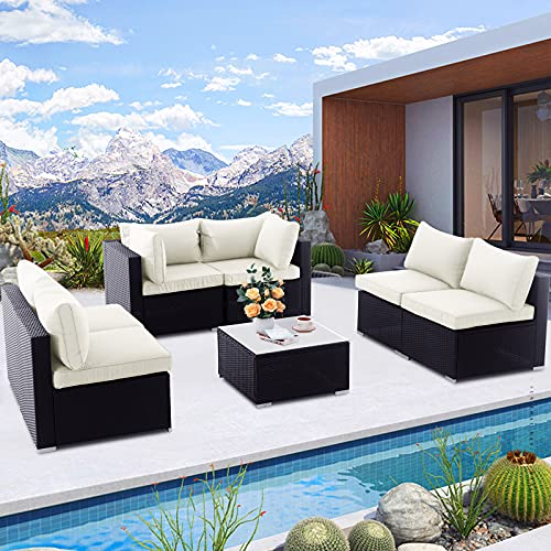 Patio Furniture Sets, 7 Pieces Outdoor Patio Conversation Sets - All Weather Rattan Wicker Sectional Sofa Set with Glass Coffee Table and Cushion