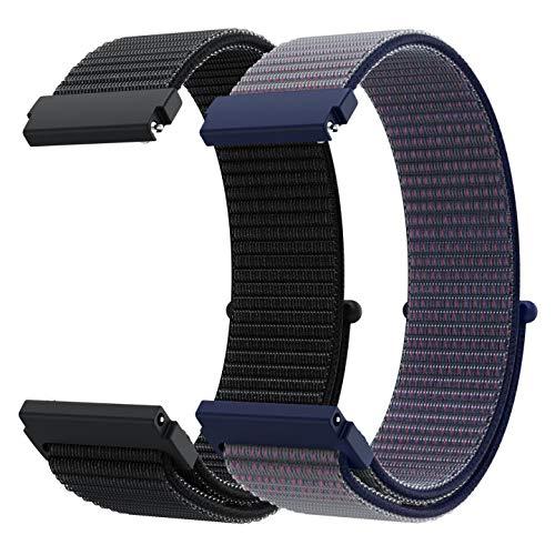 Younsea Correa para Galaxy Watch 3 41mm/Galaxy Watch Active 2/Active 40mm 42mm/Vivomove/Vivomover HR, Correa de Reloj de Nailon 20mm para Watch2 Pro/Gear S2Classic/Sport/Moto 360 2nd Gen Men's 42mm