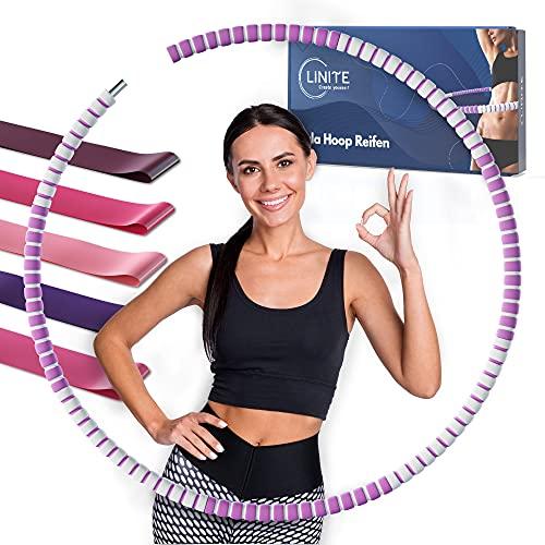 LINITE Aro de hula hoop, para adultos y niños, resistente, 8 segmentos con peso ajustable, incluye libro electrónico y bandas de resistencia