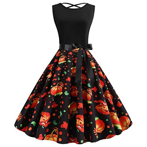 Reooly Vestido de Fiesta de Fiesta de ama de casa Vintage sin Mangas de Halter de los años 50 para Mujer