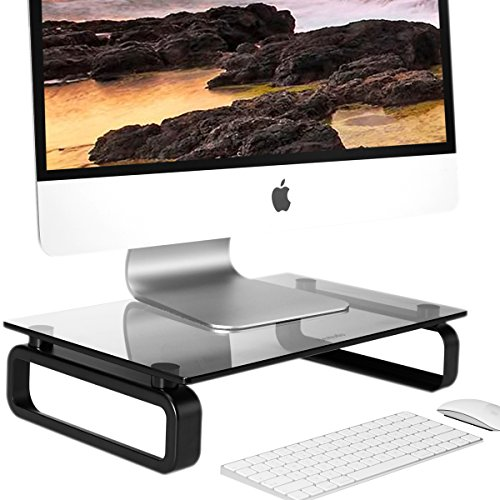 Computer Monitor Stand Riser Multi Media Desktop Stand for Flat Screen LCD LED TV, Laptop/Notebook/Xbox One, with Tempered Glass and Metal Legs, Black HD02B-001U