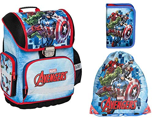 Avengers Marvel Schulranzen für Jungen 1 Klasse | Tornister Schulrucksack Schultasche | perfekt für Grundschule | super leicht | ergonomisch und anatomisch inkl. Sticker Avengers von Maximustrade