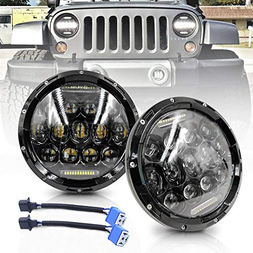 NSLUMO 2 Stück Schwarz Linse Defender 75w LED Fahrscheinwerfer mit Fernlicht Tagfahrlicht Autofahren Beamer Ersatz Für Defender RHD 90 110 Scheinwerfer