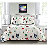 3 Piece Space Quilt Summer Bedspreads Twin,Kids Planet Bed Cover Lightweight Coverlet Set Blanket Universe Bedding-Gray White