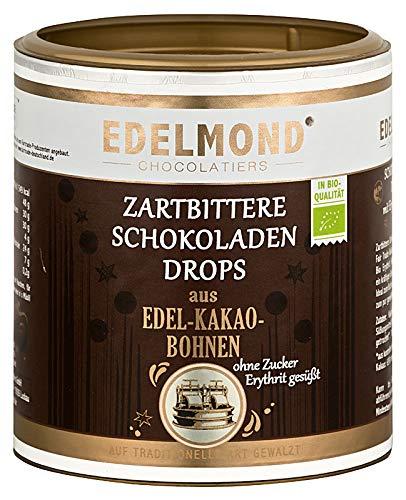 Edelmond Bio Erythrit Zartbitter Schokoladen Perlen. Laktosefrei. Zuckerfrei Erythritol gesüßt. Vegan - 250g