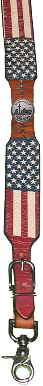 Custom Fallen Bikers American Flag Leather Suspenders Galluses or Braces