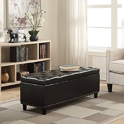 "BELLEZE 48"" Rectangular Faux Leather Linen Storage Ottoman Bench Footrest, Large Space"