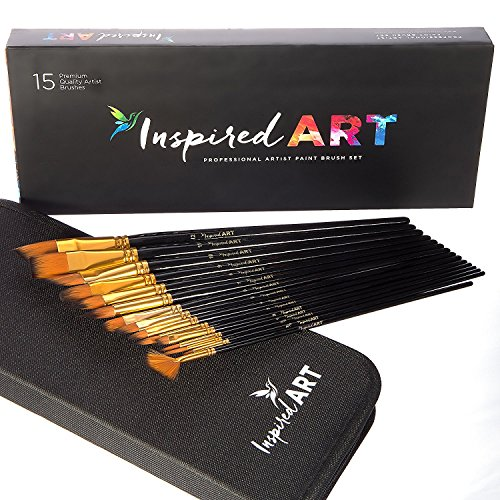 Paint Brush Set of 15 Art Brushes for Acrylic Painting, Watercolor,...