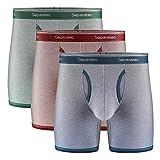 Separatec Men's Underwear Comfort Soft Cotton Boxer Briefs 3 Pack(L,Maroon Stripe/Olive Green Stripe/Navy Blue Stripe)