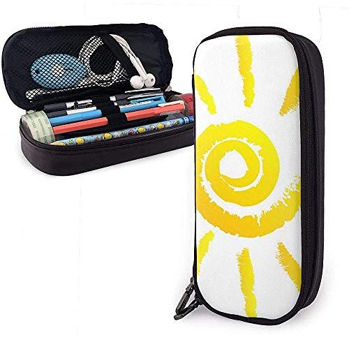 Sonnenleder Federmäppchen Tasche Mit Reißverschluss Stift Box Schulmaterial Für Studenten, Große Kapazität Schreibwaren Box Reise Make-Up Tasche Tasche