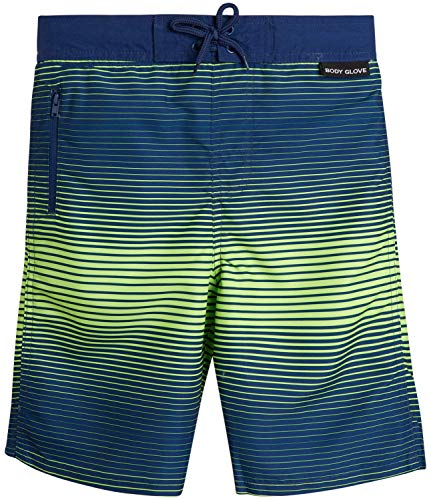 Body Glove Boys Quick-Dry Swimming Board Shorts, Navy/Lime Stripes, Size 18
