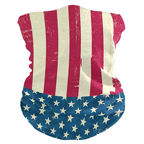 American Vintage Flag Protection Anti Droplet Face Mask Zomer UV Neck Gaiter Sjaal Zonnebrandcrème Ademend Bandana voor Sport & Outdoor