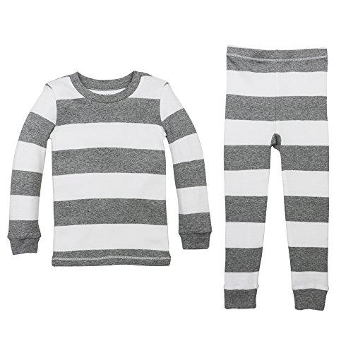 Burt's Bees Baby Unisex Baby Little Kid Pajamas, 2-Piece PJ Set, 100% Organic Cotton (12 Mo-7 Yrs), Heather Grey Rugby Stripe, 3T