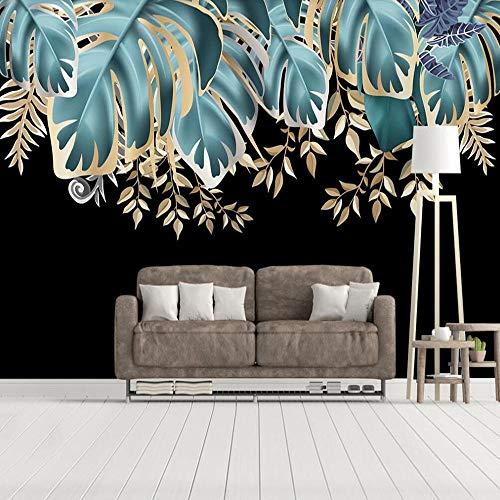 Große Tapete Wandbild Moderne Nordische Wind Goldblatt Tropische Pflanze Hintergrund Wanddekoration Malerei,400cmx280cm