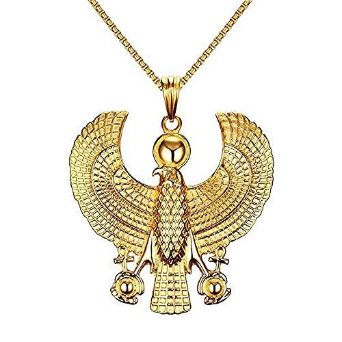 POIUIUYH Co.,ltd Collar Punk Collares egipcios para Hombre Horus Bird Falcon Holding Ankh Colgante de Oro Color Acero Hiphop Traje Joyas Gargantilla 24 Cadena