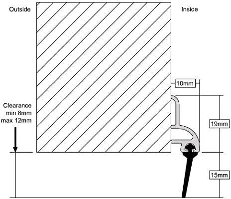 1/m Stormguard 02/am0031000/W BDS Selbstklebende Unterseite der T/ür B/ürste Tiefgang Dichtung Set von 2/St/ück wei/ß