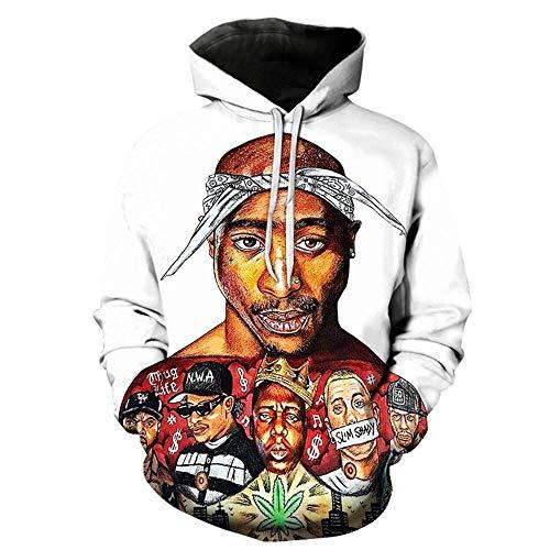 Generic 2Pac Hoodie Kapuzenpullover Für Herren Pullover Tupac Shakur 3D Print Sweatshirt Comic Hooded Sweat Damen Drawstring Hooded Tops Schwarz Weiß S-XL