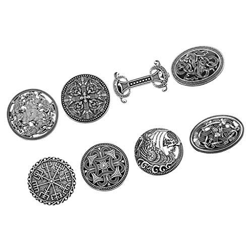 Milageto 8 Bulk Medieval Viking Brooches Pins Cloak Shawl Coat Pin Norse Jewelry