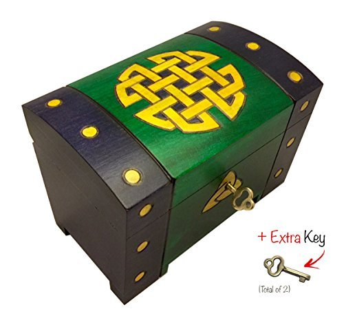 Celtic Gold Knots Chest Box Polish Handmade Wood Keepsake w/Lock & Key