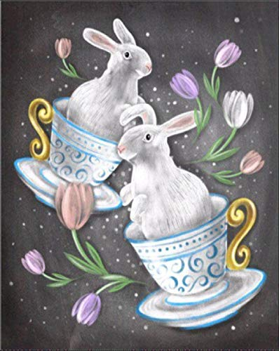 5D Diamond Painting Kits,Full Drill DIY Diamond Art Rhinestone Crystal Embroidery,Perfect for Parent Child Activity and for Home Wall Decor-Teacup Bunny 11.8 x 15.8 inch