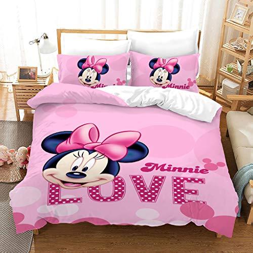 SSIN Juego de ropa de cama de Mickey Minnie Mouse, funda nórdica y funda de almohada, microfibra, impresión digital 3D, juego de tres piezas, ropa de cama de niña y funda de almohada, A13, 220X260CM