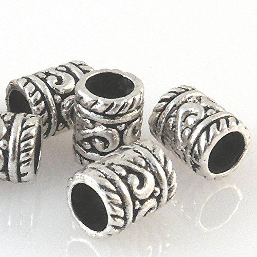 7 Metallperlen 9x7mm Spacer Großlochperlen altsilber Metall Beads -617