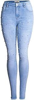 女性のストレッチ生地ジーンズボトムアウトセクシーな曲線のズボンふっくら女性のアパレル (Size : S)