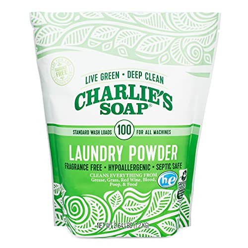 Charlie's Soap Laundry Powder (100 Loads, 1 Pack) Fragrance Free Hypoallergenic Deep Cleaning Laundry Powder – Biodegradable Laundry Detergent That Is Both Safe and Effective…