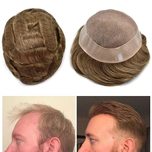 Mens Toupee Human Hair Replacement System Hairpiece Fine Mono NPU Mens Wig (7