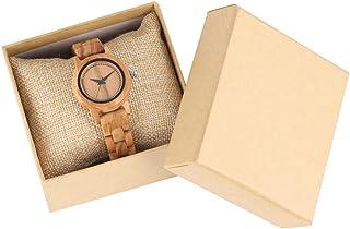 CAIDAI&YL Relojes de Madera de Arce para Mujer, Reloj de Pulsera de Madera Informal para Mujer, Reloj de Cuarzo, Esfera Re...