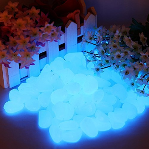 chic style 300pcs Glow in The Dark Garden Pebbles, Gardening Luminous Glow Stones Outdoor Decor Glowing Water Fish Tank Gravel (Blue)
