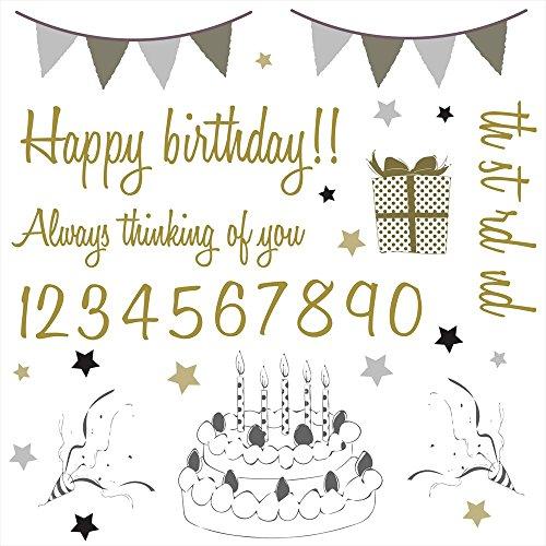 誕生日☆ シール式ウォールステッカー 誕生日 ウォールステッカー 飾り 30×30cm シール式 ケーキ ガーラン...
