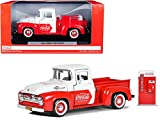 StarSun Depot New 1955 Ford F-100 Pickup Truck Red and White with Vending Machine Accessory Coca-Cola 1/24 Diecast Model Car by Motorcity Classics