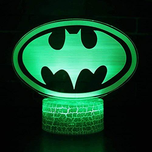Illusion d'optique Lumière Nuit Super-Héros Batman Logo Modèle Led Lampe Enfants Chambre Décoration Batman Lumières Avec Télécommande Pour Enfants De Noël
