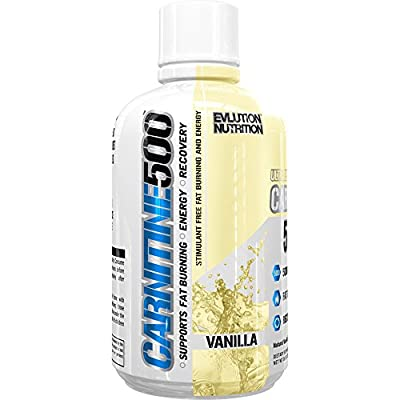 Evlution Nutrition Liquid L-Carnitine500, 500 mg of Pure L Carnitine in Each Serving, Stimulant-Free, 93 Servings (Vanilla)