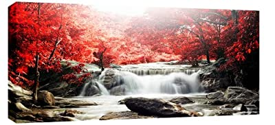 Large Red Forest Waterfall Landscape Box Canvas 113cm x 52cm ready to hang