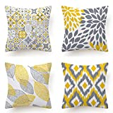 CHU CI Set of 4 Yellow and Gray Throw Pillow Case Modern Decorative Cushion Cover for Room Bedroom Sofa Chair Car 18 x 18 inches