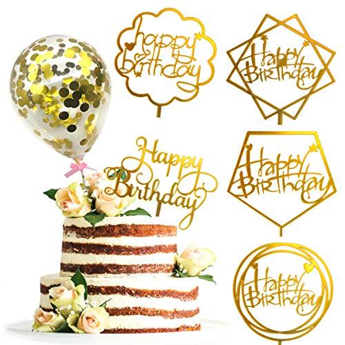 Drcurn 5 stks Gelukkige Verjaardag Cake Topper Acryl Cupcake Topper met 5 stks Mini Confetti Ballonnen voor Kinderen Volwassen Verjaardag Cake Supplies(Goud)