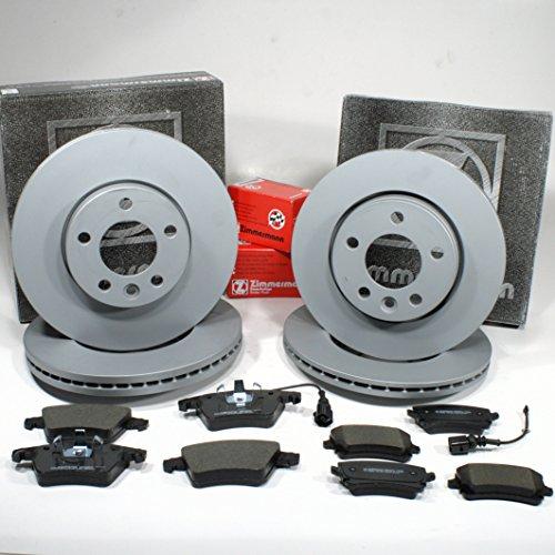 Zimmermann Bremsscheiben PR-Nr. 2E3 Coat Z/Bremsen + Bremsbeläge + Warnkabel für vorne + hinten