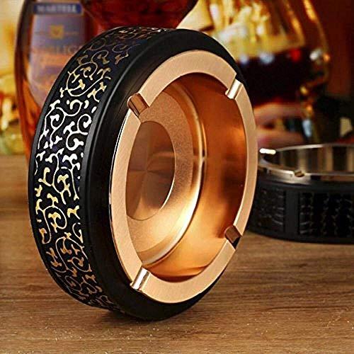 LILICEN Cenicero, Decoraciones del Arte del Arte del cenicero de Metal de Oro de Cuero Copa a casa de Humo Sala de Estar