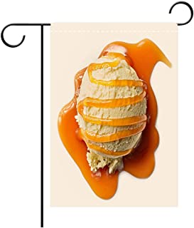 BEICICI Artistically Designed Yard Flags, Double Sided Vanilla ice Cream with Caramel Sauce Decorative Deck, Patio, Porch, Balcony Backyard, Garden or Lawn