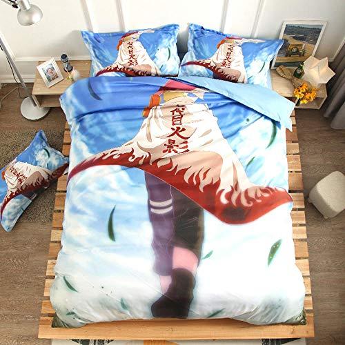 FAIEK Juego de Ropa de Cama Anime para niños,Naruto Cielo Azul,Funda nórdica Funda de Almohada, Japón Anime Naruto 180X200CM