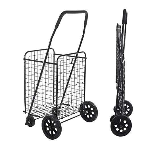 Folding Shopping Cart with Wheels for Grocery Utility - Compact Portable Large-Capacity Foldable Supermarket Cart Saves Space - with Cozy Handle - Easy to Move Lightweight Trolley Holds up to 77Ibs