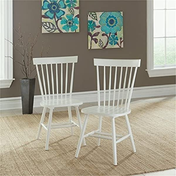 BOWERY HILL Spindle Back Dining Chair In White Set Of 2