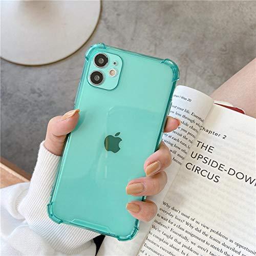 FYMIJJ Funda de teléfono con protección de Silicona para Lentes para iPhone 12 11 Pro MAX X XR XS 7 8 6 6s Plus SE 2020 Mini Color Caramelo Suave contraportada Regalo, Verde, para iPhone XR